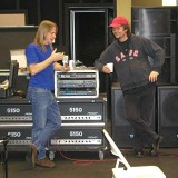 Steve Morse explaining snack food to Don Airey